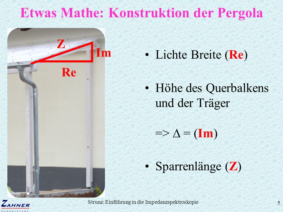 Strunz: Einführung in die Impedanzspektroskopie 36 The Nernstian diffusion Impedance R i = R = const, C i = C = const d N thickness of layer constant of diffusion Transfer function W = Warburg Parameter