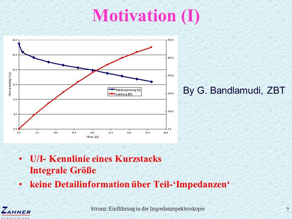 Strunz: Einführung in die Impedanzspektroskopie 7 Motivation (I) U/I- Kennlinie eines Kurzstacks Integrale Größe keine Detailinformation über Teil-Imp