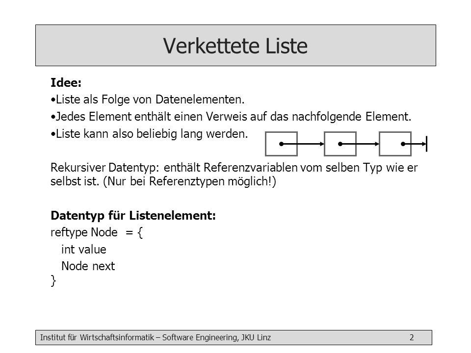 Institut für Wirtschaftsinformatik – Software Engineering, JKU Linz 2 Verkettete Liste Idee: Liste als Folge von Datenelementen.