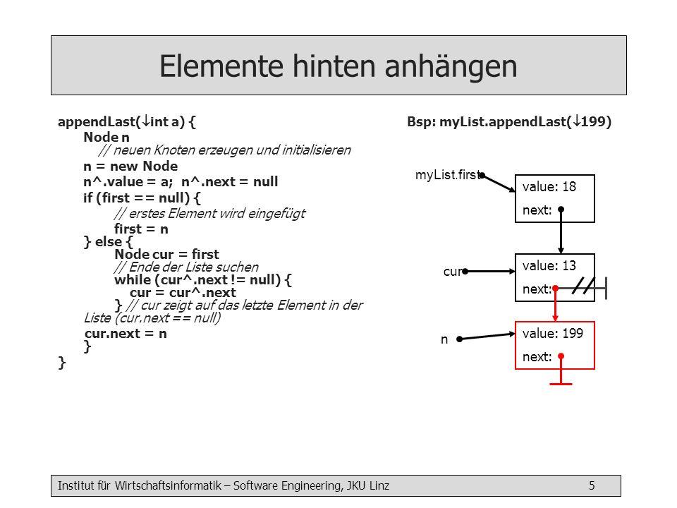 Institut für Wirtschaftsinformatik – Software Engineering, JKU Linz 5 Elemente hinten anhängen appendLast( int a) { Node n // neuen Knoten erzeugen und initialisieren n = new Node n^.value = a; n^.next = null if (first == null) { // erstes Element wird eingefügt first = n } else { Node cur = first // Ende der Liste suchen while (cur^.next != null) { cur = cur^.next } // cur zeigt auf das letzte Element in der Liste (cur.next == null) cur.next = n } } Bsp: myList.appendLast( 199) myList.first value: 18 next: value: 13 next: n value: 199 next: cur