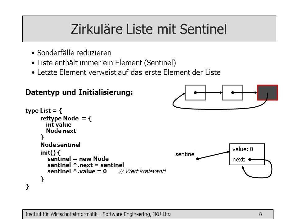Institut für Wirtschaftsinformatik – Software Engineering, JKU Linz 8 Zirkuläre Liste mit Sentinel Sonderfälle reduzieren Liste enthält immer ein Element (Sentinel) Letzte Element verweist auf das erste Element der Liste Datentyp und Initialisierung: type List = { reftype Node = { int value Node next } Node sentinel init() { sentinel = new Node sentinel ^.next = sentinel sentinel ^.value = 0 // Wert irrelevant.