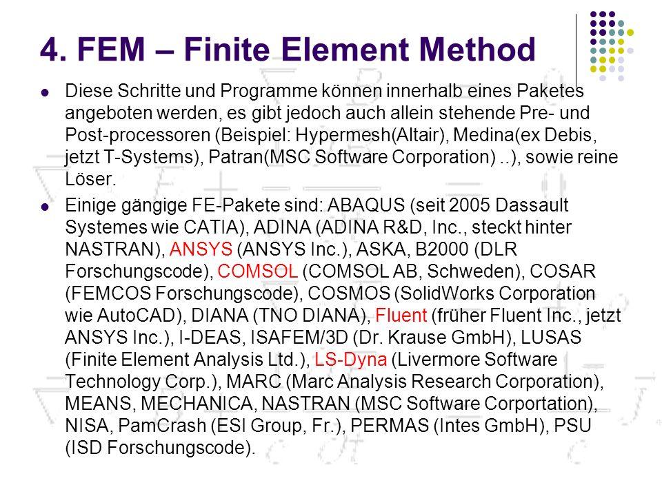 4. FEM – Finite Element Method Diese Schritte und Programme können innerhalb eines Paketes angeboten werden, es gibt jedoch auch allein stehende Pre-
