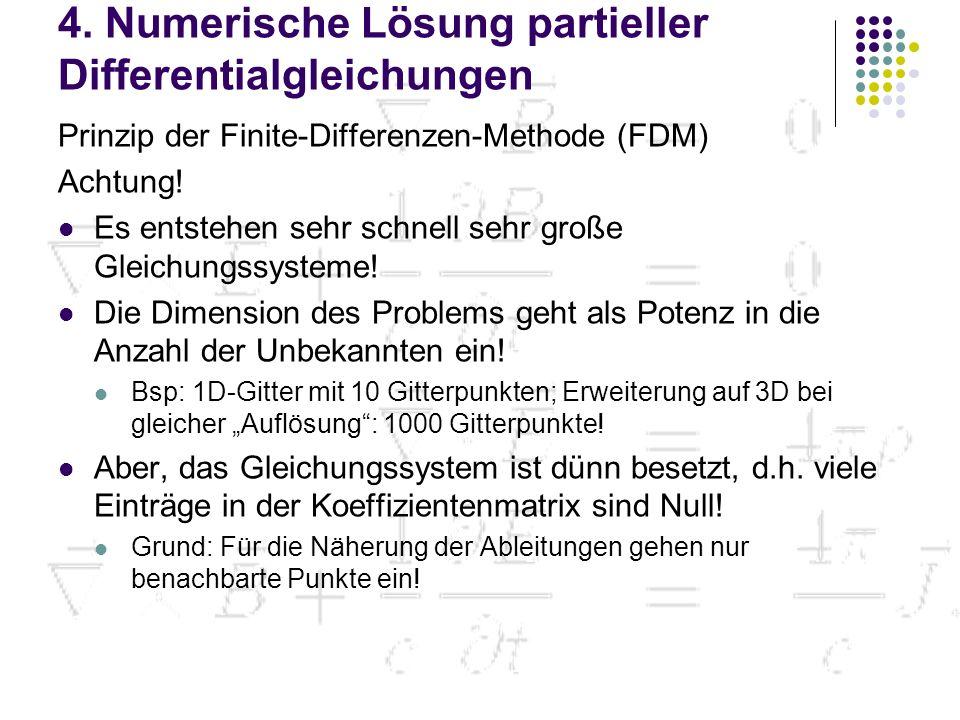 4. Numerische Lösung partieller Differentialgleichungen Prinzip der Finite-Differenzen-Methode (FDM) Achtung! Es entstehen sehr schnell sehr große Gle