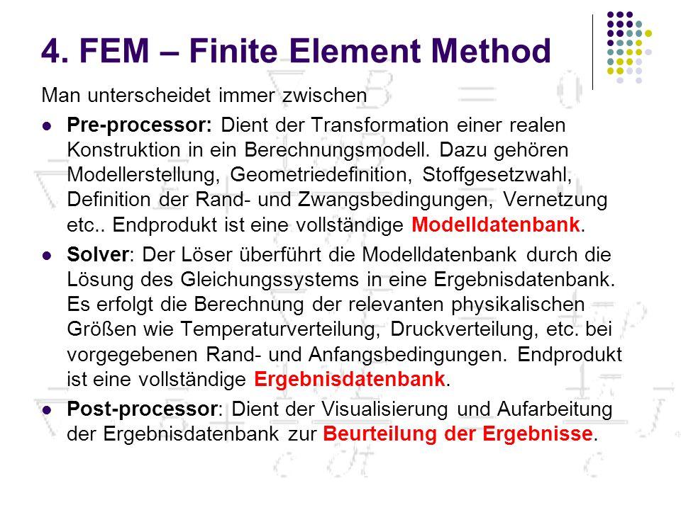 4. FEM – Finite Element Method Man unterscheidet immer zwischen Pre-processor: Dient der Transformation einer realen Konstruktion in ein Berechnungsmo