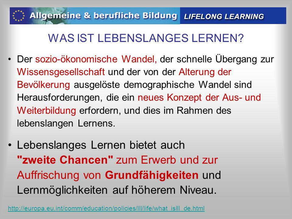 WAS IST LEBENSLANGES LERNEN? Der sozio-ökonomische Wandel, der schnelle Übergang zur Wissensgesellschaft und der von der Alterung der Bevölkerung ausg