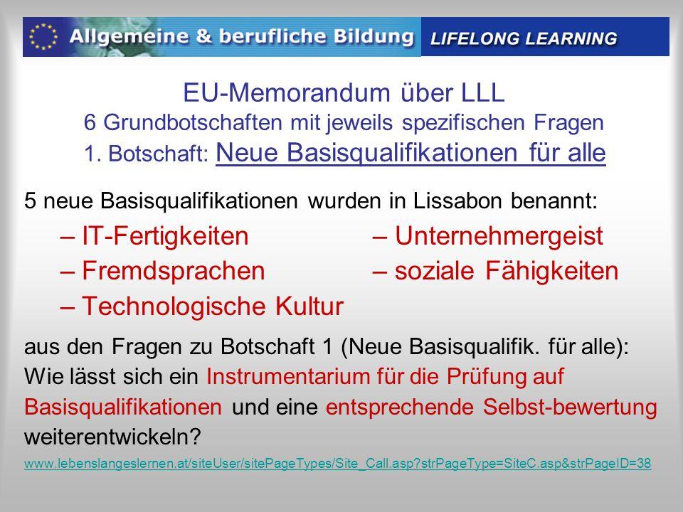 EU-Memorandum über LLL 6 Grundbotschaften mit jeweils spezifischen Fragen 1. Botschaft: Neue Basisqualifikationen für alle 5 neue Basisqualifikationen