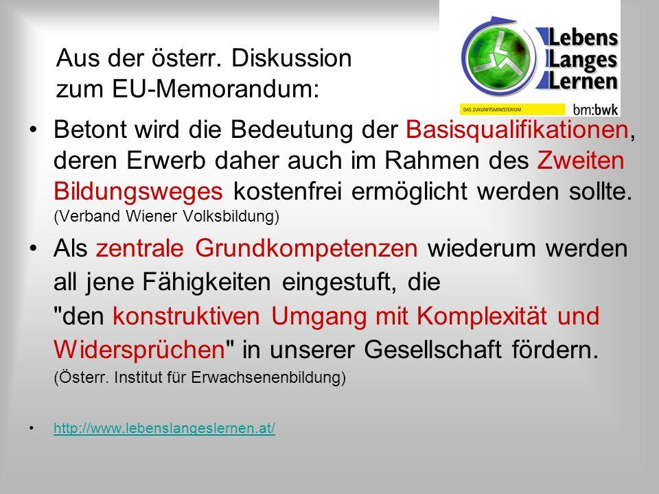 Aus der österr. Diskussion zum EU-Memorandum: Betont wird die Bedeutung der Basisqualifikationen, deren Erwerb daher auch im Rahmen des Zweiten Bildun