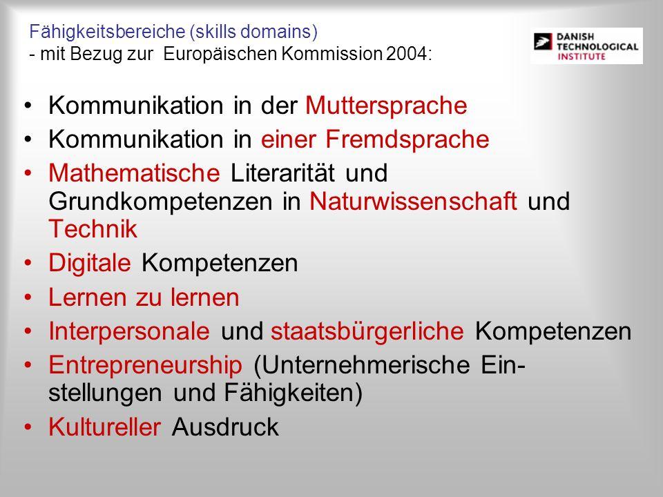 Fähigkeitsbereiche (skills domains) - mit Bezug zur Europäischen Kommission 2004: Kommunikation in der Muttersprache Kommunikation in einer Fremdsprac