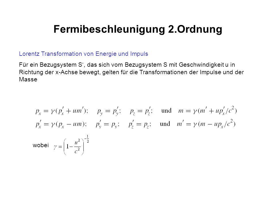 Fermibeschleunigung 2.Ordnung Lorentz Transformation von Energie und Impuls Für ein Bezugsystem S, das sich vom Bezugsystem S mit Geschwindigkeit u in