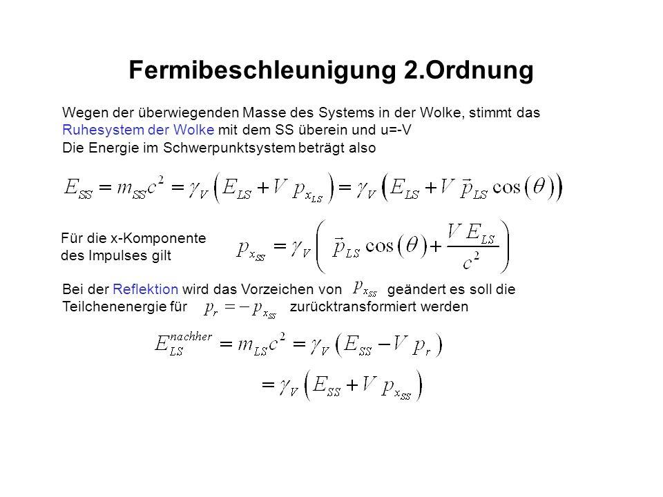 Fermibeschleunigung 2.Ordnung Wegen der überwiegenden Masse des Systems in der Wolke, stimmt das Ruhesystem der Wolke mit dem SS überein und u=-V Die