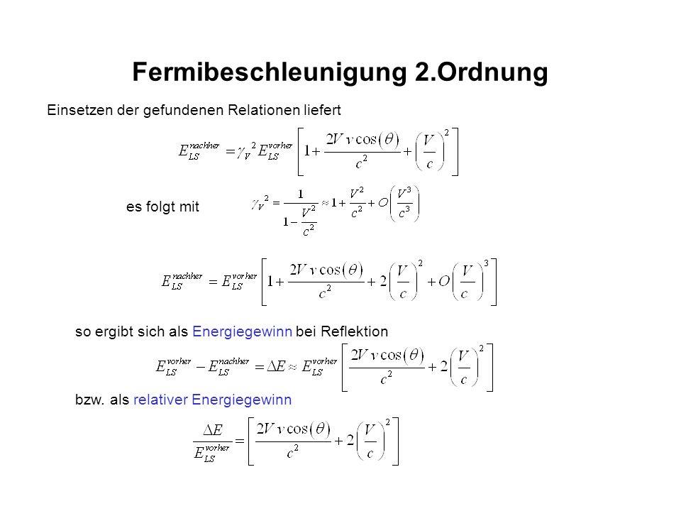 Fermibeschleunigung 2.Ordnung Einsetzen der gefundenen Relationen liefert es folgt mit so ergibt sich als Energiegewinn bei Reflektion bzw. als relati