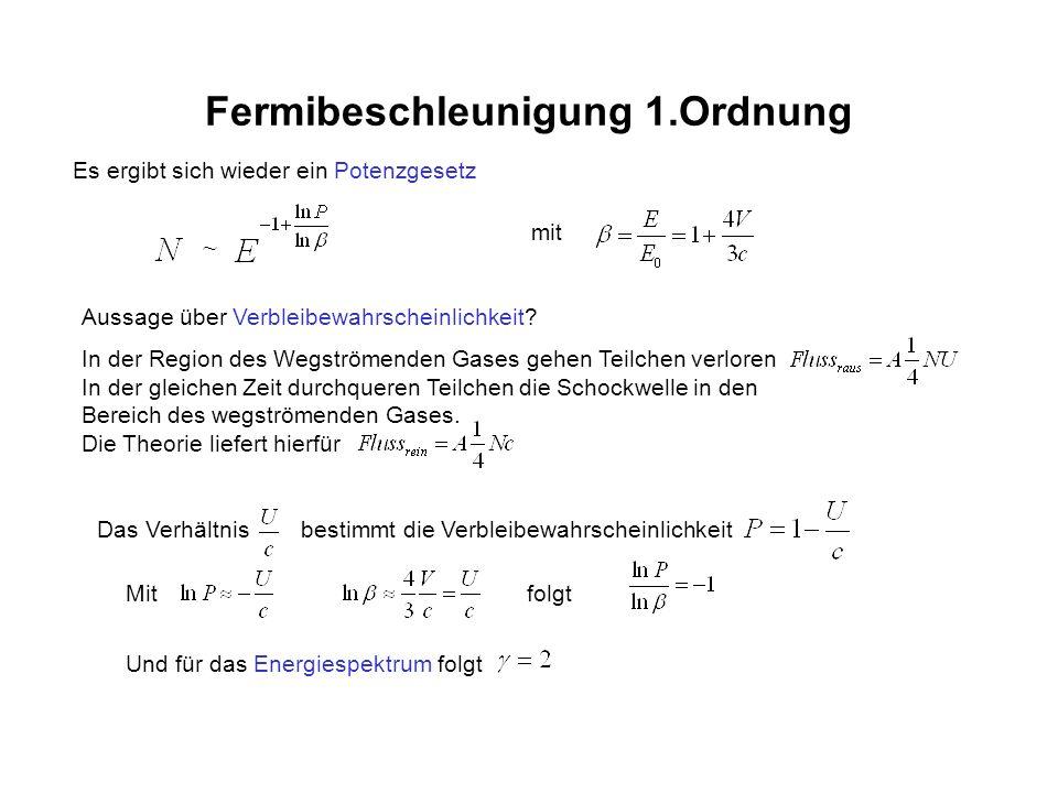 Fermibeschleunigung 1.Ordnung Es ergibt sich wieder ein Potenzgesetz mit Aussage über Verbleibewahrscheinlichkeit? In der Region des Wegströmenden Gas