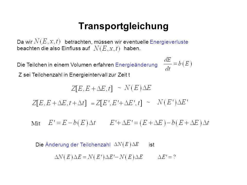 Transportgleichung Da wir betrachten, müssen wir eventuelle Energieverluste beachten die also Einfluss auf haben. Die Teilchen in einem Volumen erfahr