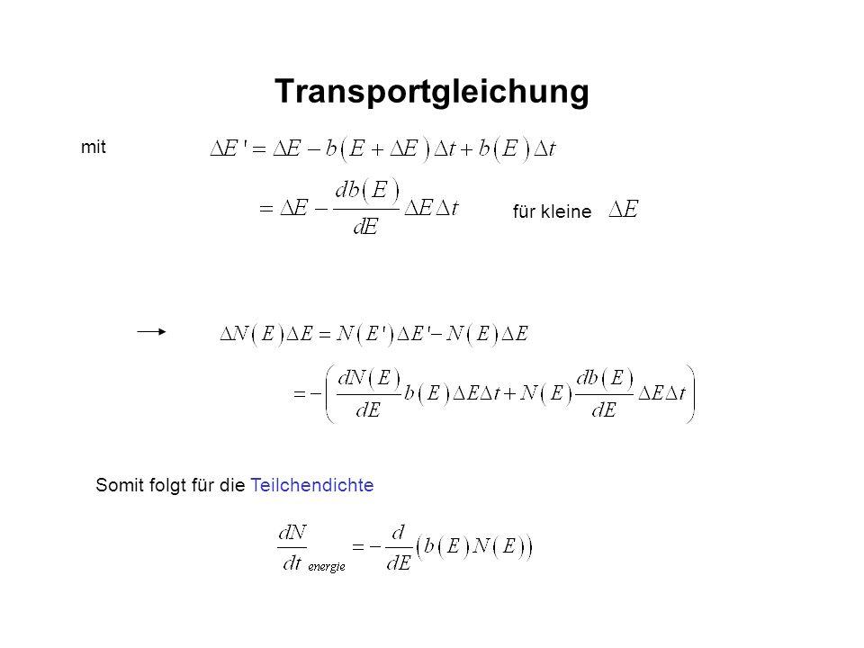 Transportgleichung Somit folgt für die Teilchendichte für kleine mit