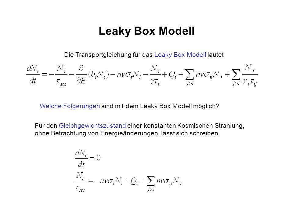 Leaky Box Modell Die Transportgleichung für das Leaky Box Modell lautet Welche Folgerungen sind mit dem Leaky Box Modell möglich? Für den Gleichgewich