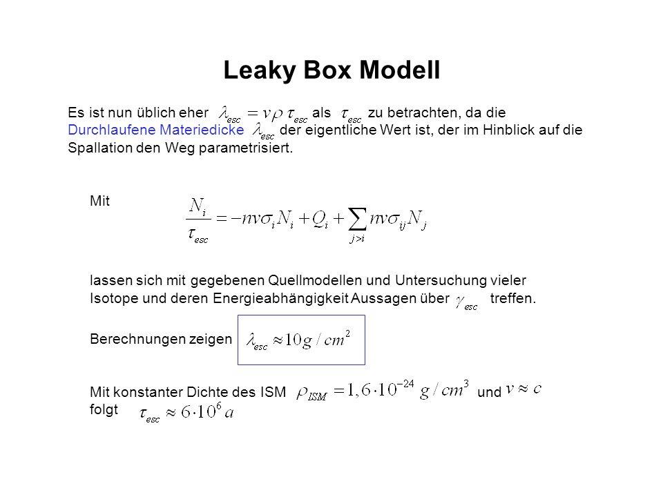 Leaky Box Modell Es ist nun üblich eher als zu betrachten, da die Durchlaufene Materiedicke der eigentliche Wert ist, der im Hinblick auf die Spallati