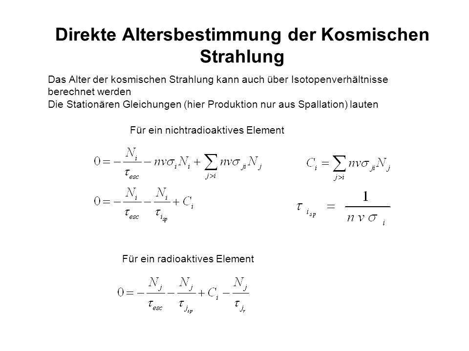 Direkte Altersbestimmung der Kosmischen Strahlung Das Alter der kosmischen Strahlung kann auch über Isotopenverhältnisse berechnet werden Die Stationä