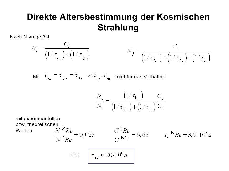 Direkte Altersbestimmung der Kosmischen Strahlung Nach N aufgelöst Mit folgt für das Verhältnis mit experimentellen bzw. theoretischen Werten folgt