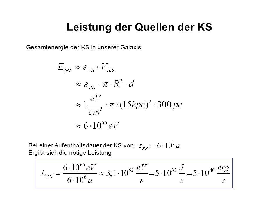 Leistung der Quellen der KS Gesamtenergie der KS in unserer Galaxis Bei einer Aufenthaltsdauer der KS von Ergibt sich die nötige Leistung
