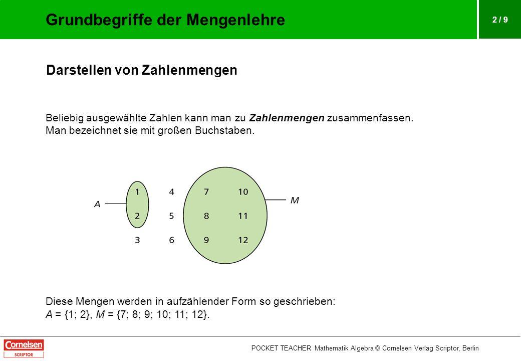 2 / 9 Darstellen von Zahlenmengen Beliebig ausgewählte Zahlen kann man zu Zahlenmengen zusammenfassen. Man bezeichnet sie mit großen Buchstaben. Diese