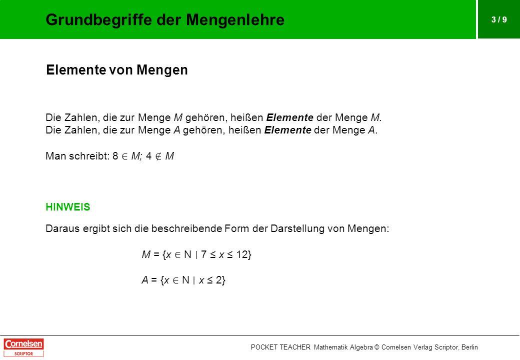 3 / 9 Elemente von Mengen Die Zahlen, die zur Menge M gehören, heißen Elemente der Menge M. Die Zahlen, die zur Menge A gehören, heißen Elemente der M