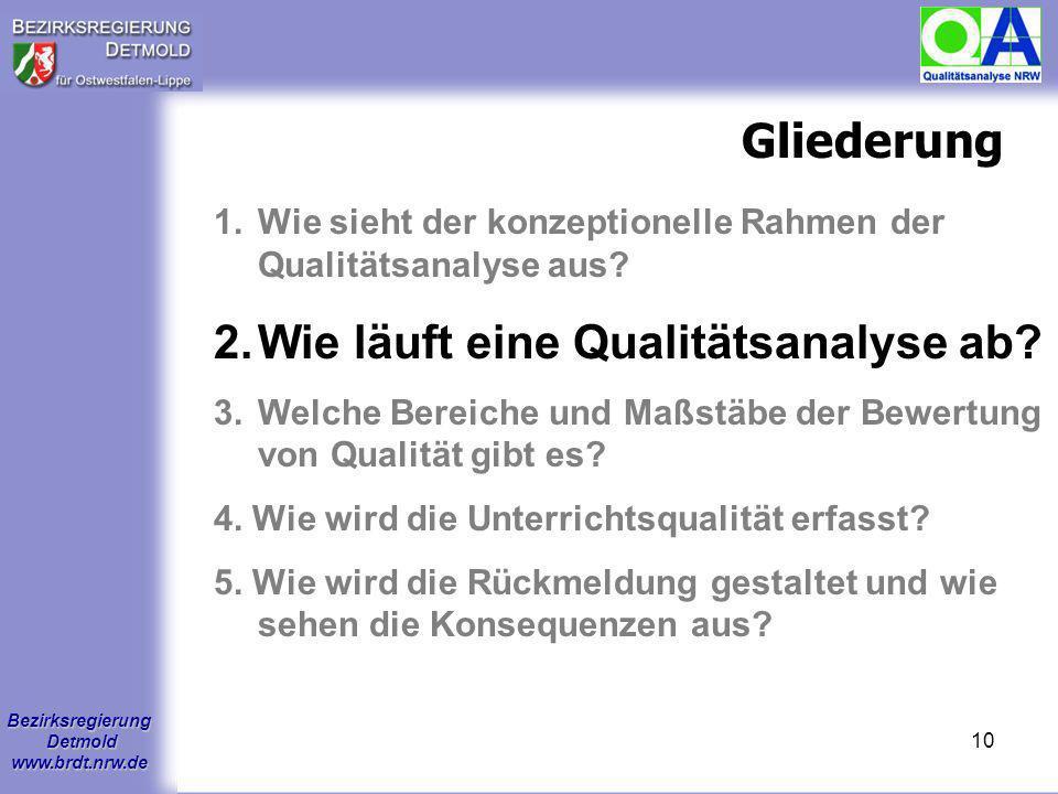 Bezirksregierung Detmold www.brdt.nrw.de 9 Chancen der Qualitätsanalyse Die QA bietet den Schulen die Möglichkeit: Stärken zu benennen sowie zu schätz