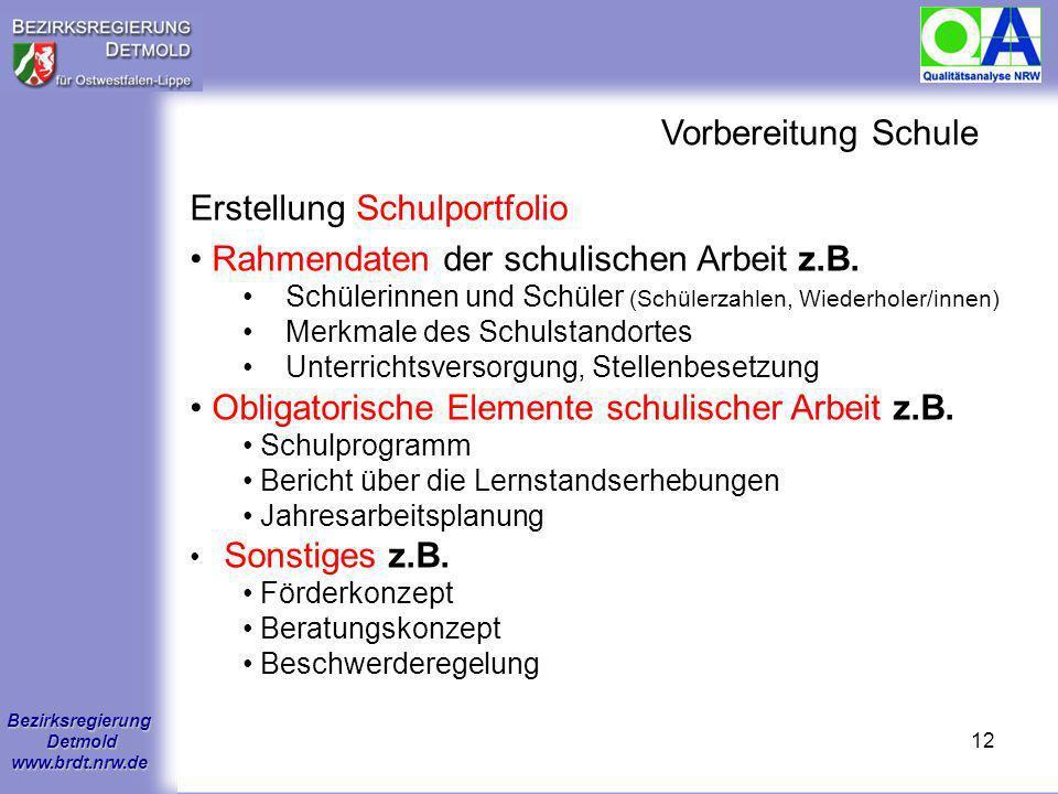 Bezirksregierung Detmold www.brdt.nrw.de 11 Vorbereitung Qualitätsteam Zusammenstellung des Qualitätsteams Vorbereitung Qualitätsteam mit der Schule A