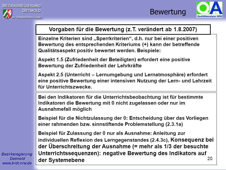 Bezirksregierung Detmold www.brdt.nrw.de 19 Wertung der Kriterien und Indikatoren: + Das Kriterium/der Indikator ist beispielhaft erfüllt: Die Qualitä