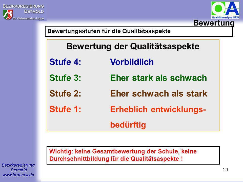 Bezirksregierung Detmold www.brdt.nrw.de 20 Bewertung Vorgaben für die Bewertung (z.T. verändert ab 1.8.2007) Einzelne Kriterien sind Sperrkriterien,