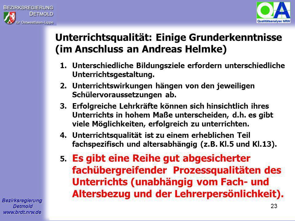 Bezirksregierung Detmold www.brdt.nrw.de 22 1.Wie sieht der konzeptionelle Rahmen der Qualitätsanalyse aus? 2.Wie läuft eine Qualitätsanalyse ab? 3.We