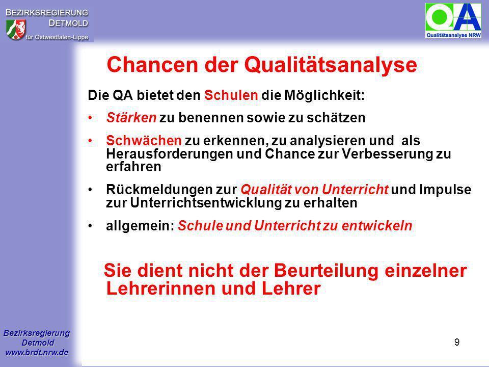 Bezirksregierung Detmold www.brdt.nrw.de 8 Funktionen der Qualitätsanalyse Bestandsaufnahme zur Qualität einer Schule und Ergänzung interner Evaluatio