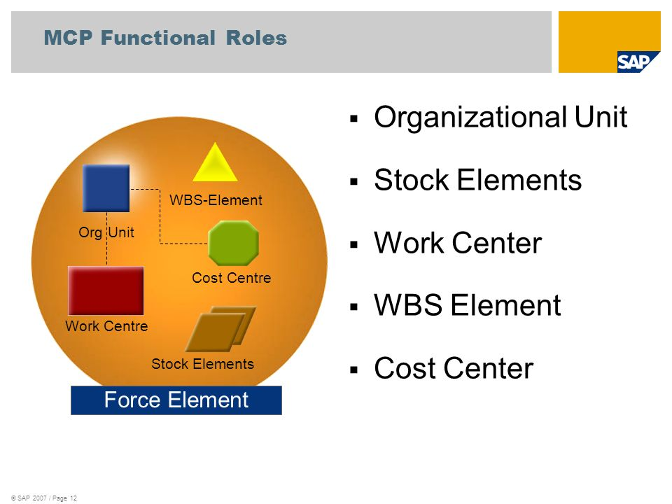 © SAP 2007 / Page 12 Force Element WBS-Element Cost Centre Stock Elements Work Centre Org Unit Organizational Unit Stock Elements Work Center WBS Element Cost Center MCP Functional Roles