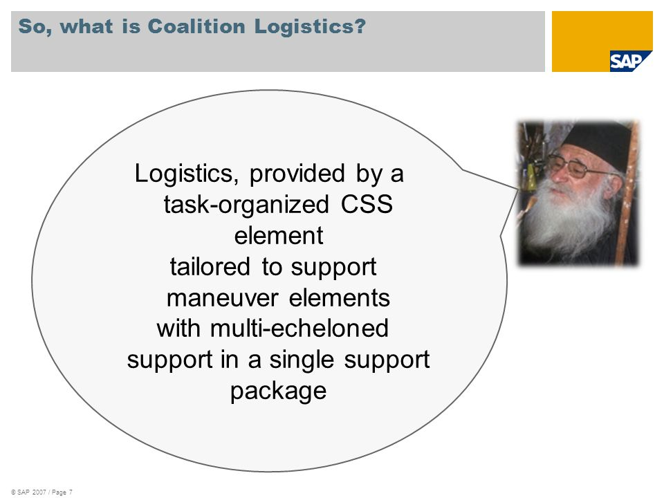 Tenets of Coalition Logistics Modularity: Capable of task organizing or plugging into various supported elements.