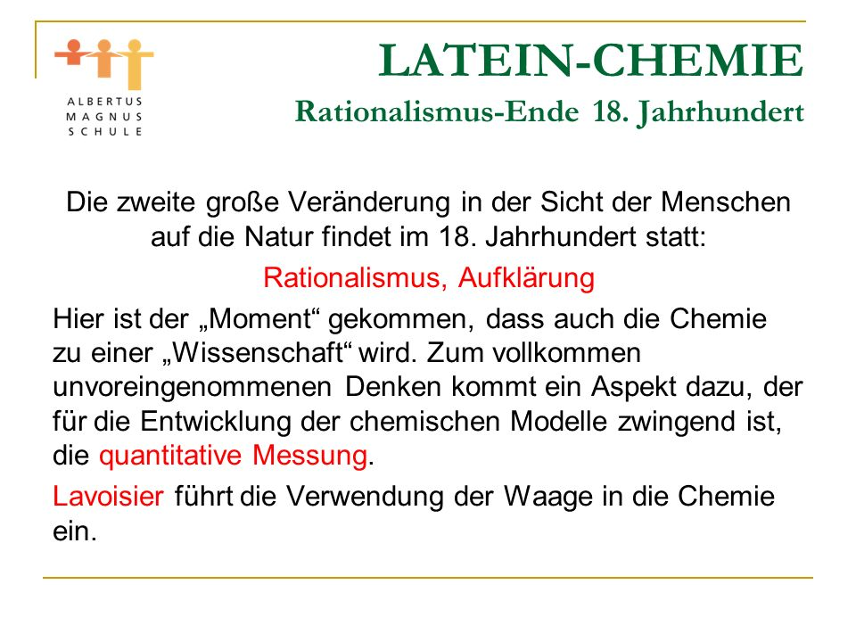 LATEIN-CHEMIE Rationalismus-Ende 18.