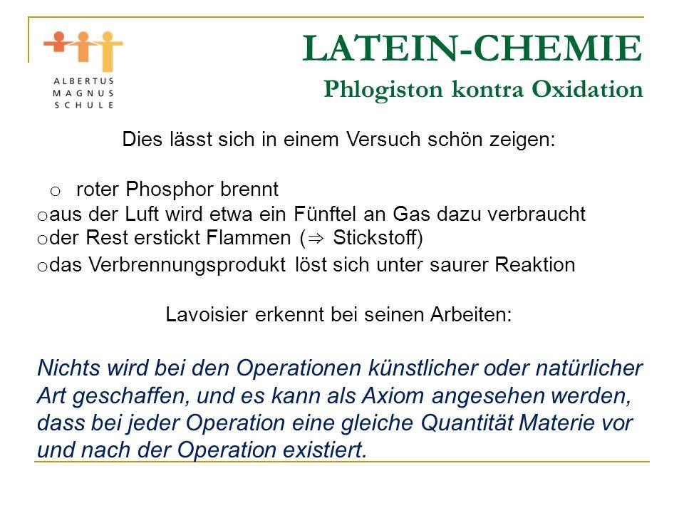 LATEIN-CHEMIE Phlogiston kontra Oxidation Dies lässt sich in einem Versuch schön zeigen: o roter Phosphor brennt o aus der Luft wird etwa ein Fünftel