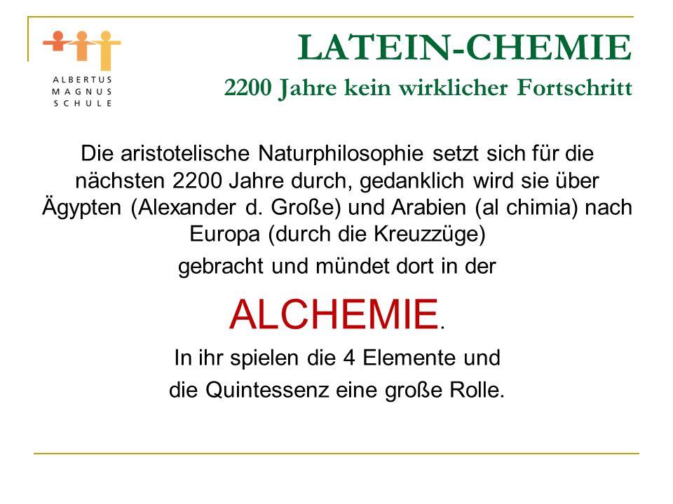 LATEIN-CHEMIE Vor 200 Jahren: Moderne Chemie beginnt Gerade das letzte Beispiel zeigt: Auch heute sind wir nicht am Ende der Erkenntnis angelangt.