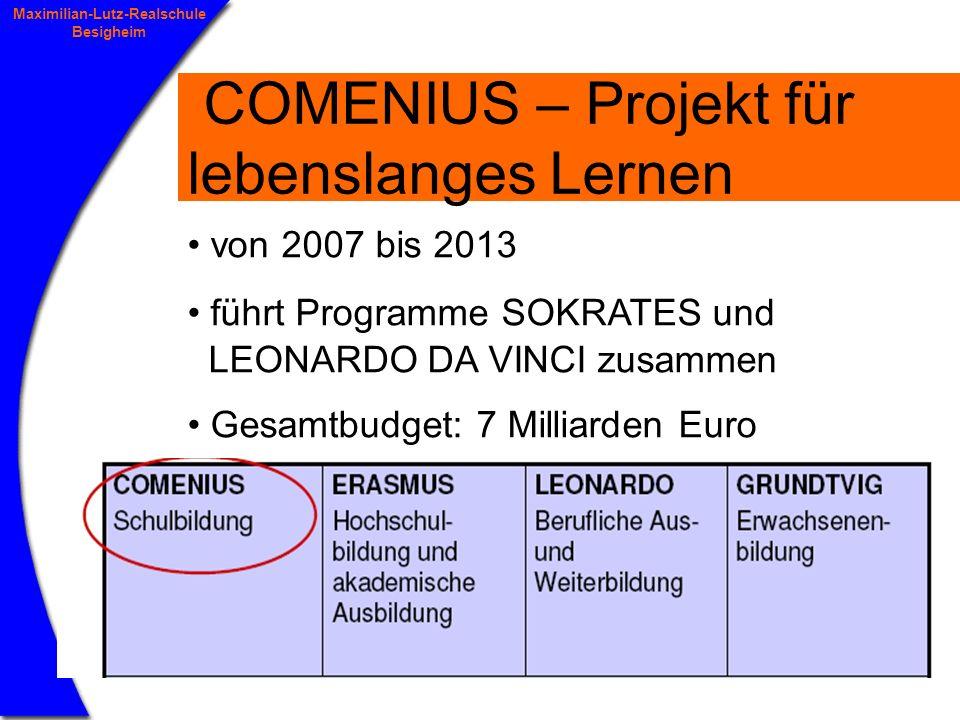3 Maximilian-Lutz-Realschule Besigheim COMENIUS – Projekt für lebenslanges Lernen von 2007 bis 2013 führt Programme SOKRATES und LEONARDO DA VINCI zusammen Gesamtbudget: 7 Milliarden Euro