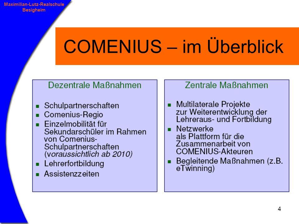 5 Maximilian-Lutz-Realschule Besigheim COMENIUS – Schulpartnerschaften Typen von Partnerschaften: multilaterale Partnerschaften > 3 Schulen aus 3 verschiedenen Staaten bilaterale Partnerschaften = 2 Schulen aus 2 Teilnehmerstaaten mit vers.