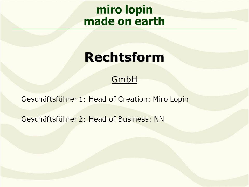 miro lopin made on earthRechtsform GmbH Geschäftsführer 1: Head of Creation: Miro Lopin Geschäftsführer 2: Head of Business: NN