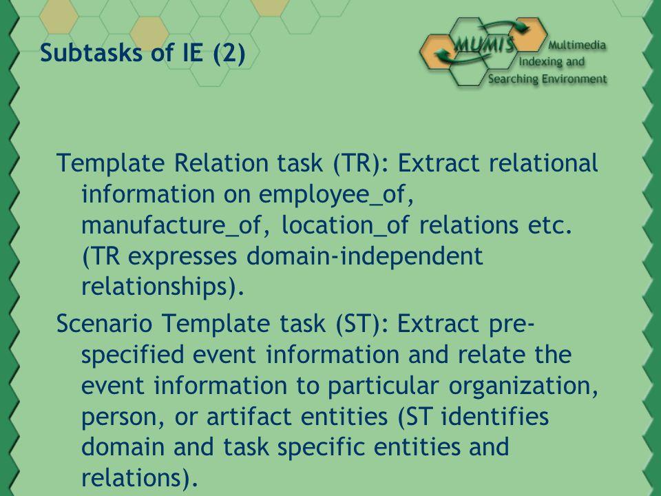 Subtasks of IE (3) Co-reference task (CO): Capture information on co-refering expressions, i.e.