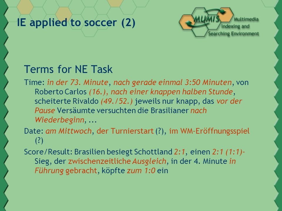 IE applied to soccer (2) Terms for NE Task Time: in der 73.