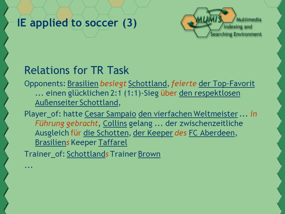 IE applied to soccer (3) Relations for TR Task Opponents: Brasilien besiegt Schottland, feierte der Top-Favorit... einen glücklichen 2:1 (1:1)-Sieg üb