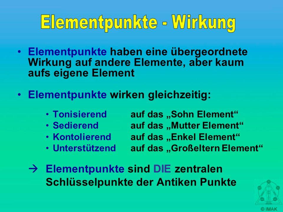 Elementpunkte haben eine übergeordnete Wirkung auf andere Elemente, aber kaum aufs eigene Element Elementpunkte wirken gleichzeitig: Tonisierend auf d