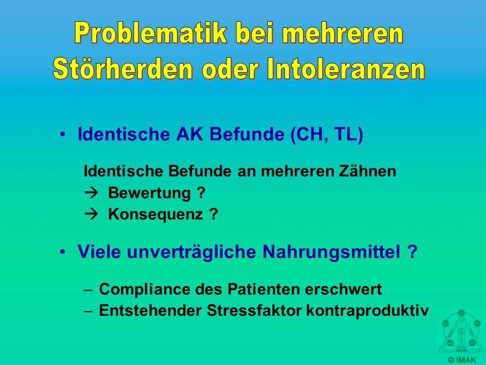 Identische AK Befunde (CH, TL) Identische Befunde an mehreren Zähnen Bewertung ? Konsequenz ? Viele unverträgliche Nahrungsmittel ? –Compliance des Pa