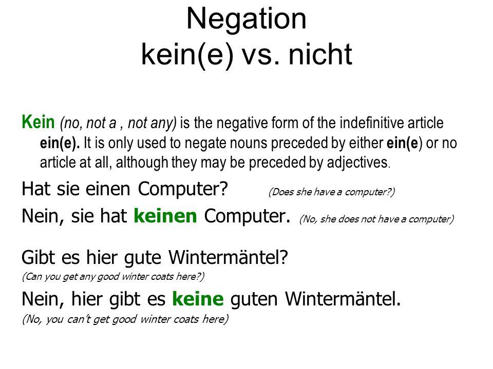 Negation kein(e) vs.