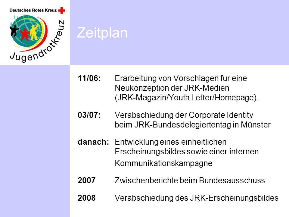 Zeitplan 11/06: Erarbeitung von Vorschlägen für eine Neukonzeption der JRK-Medien (JRK-Magazin/Youth Letter/Homepage). 03/07:Verabschiedung der Corpor