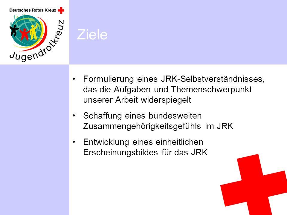 Ziele Formulierung eines JRK-Selbstverständnisses, das die Aufgaben und Themenschwerpunkt unserer Arbeit widerspiegelt Schaffung eines bundesweiten Zusammengehörigkeitsgefühls im JRK Entwicklung eines einheitlichen Erscheinungsbildes für das JRK