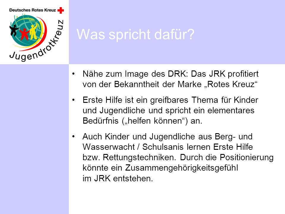 Was spricht dafür? Nähe zum Image des DRK: Das JRK profitiert von der Bekanntheit der Marke Rotes Kreuz Erste Hilfe ist ein greifbares Thema für Kinde