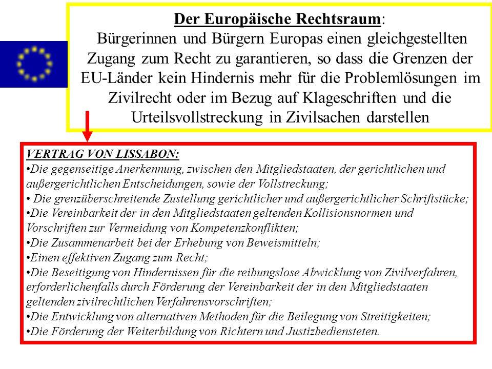 PHASEN VERTRAGSABSCHLÜSSE DES EUROPÄISCHEN RATES VON TAMPEREVERTRAGSABSCHLÜSSE DES EUROPÄISCHEN RATES VON TAMPERE 1999 verabschiedet1999 verabschiedet War Ausschlag gebend für die ersten Handlungen im Bezug auf den Aufbau des Europäischen RechtsraumsWar Ausschlag gebend für die ersten Handlungen im Bezug auf den Aufbau des Europäischen Rechtsraums Nach 5 Jahren überarbeitet wordenNach 5 Jahren überarbeitet worden DAS HAAGER PRGROGRAMMDAS HAAGER PRGROGRAMM 2005-20102005-2010 DAS STOCKHOLMER PROGRAMM (rechtskräftig)DAS STOCKHOLMER PROGRAMM (rechtskräftig) 2010-20142010-2014 Ergänzt durch den Aktionsplan durch den das Stockholmer Programm angewendet wirdErgänzt durch den Aktionsplan durch den das Stockholmer Programm angewendet wird