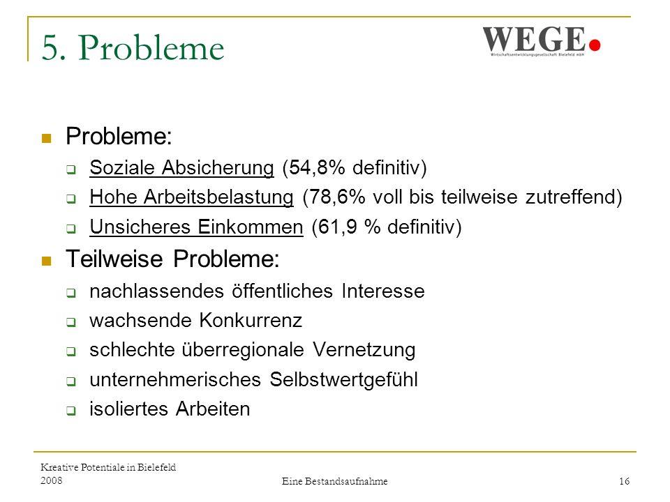 Kreative Potentiale in Bielefeld 2008 Eine Bestandsaufnahme 16 5.